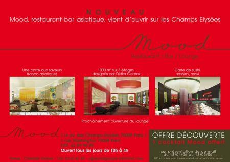 mood restaurant bar asiatique vient d 39 ouvrir sur les champs elys es. Black Bedroom Furniture Sets. Home Design Ideas